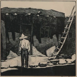 "Howard Cook, Hopi House, Woodcut, c. 1927, 8"" x 8"""