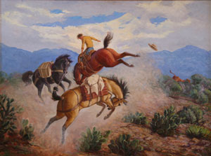 """Ila McAfee, A Chain Reaction - Trouble on the Trail, Oil on Canvas, 36"""" x 48"""""""
