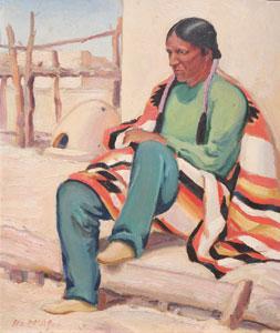 "Ila McAfee, Hunting Wind Taos, Oil on Panel, c. 1950, 8"" x 10"""