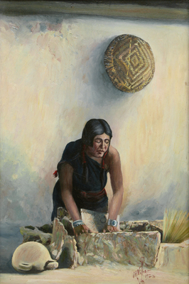 "Joseph Roy Willis, Hopi Woman Grinding Corn, Oil on Board, dated 1923, 20"" x 13"" Painted in a trip to Hopi with Maynard Dixon."