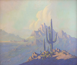 "Jack van Ryder, Saguaro and Mountain, Oil on Canvas, 20"" x 24"""