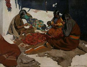 "Jesse Arms Botke, Hopi Home Life, Oil on Canvas, c. 1907, 20"" x 29"""