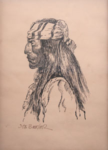 "Joe Beeler, Apache, Pen and Ink on Paper, 9.5"" x 6.75"""