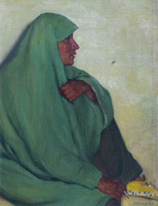 "Joseph Henry Sharp, Bawling Deer Taos, Oil on Canvas, 16"" x 13"""