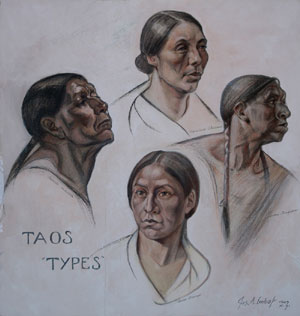 "Joseph Imhoff, Taos ""Types"", Pastel, 29"" x 27.75"""