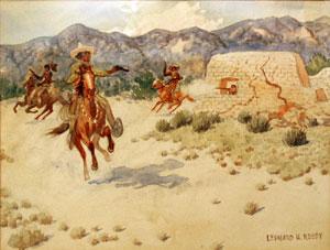 """Leonard Reedy, Shootout, Watercolor, Circa 1930-40, 8.5"""" x 11.5"""""""