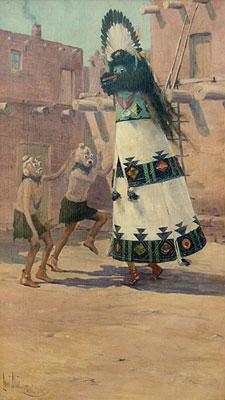 "Louis Akin, Shalako Dancer, 1912, Oil on Canvas, 20"" x 14"""