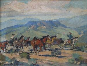 "Marjorie Reed, Arizona Stallions, Oil on Canvas Board, 8"" x 10"""