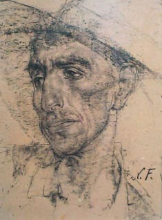 """Nicolai Fechin, Mexican in a Cowboy Hat, Charcoal on Paper, 16"""" x 12"""""""