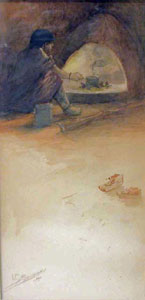 "Oscar Berninghaus, Indian at Fireplace, Watercolor, CIrca 1900, 9"" x 4"""