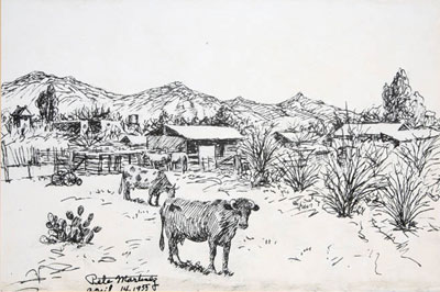 "Pete Martinez, Cattle and Ranch, April 14, 1955, Ink on Paper, 9""x 14"""