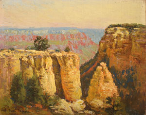 """Rolla Sims Taylor, Early Morning, Yavapai Point, Oil on Canvas Board, August 1924, 8"""" x 10"""""""