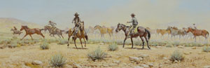"Russ Vickers, The Wild One, Oil on Canvas Board, 1978, 4.5"" x 12.5"""