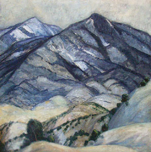 "Sheldon Parsons, Somber Mountain, Oil on Board, c. 1920, 36"" x 36"""