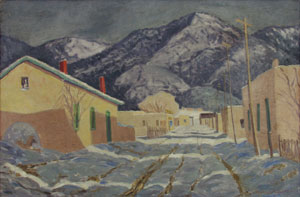 """Sheldon Parsons, Winter Afternoon, Canyon Road, Oil on Board, c. 1943, 24"""" x 35.75"""""""