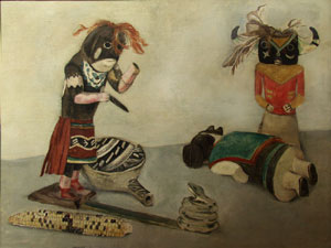 "Stefan Hirsch, Kachinas, Oil on Canvas, 1929, 20"" x 26"""