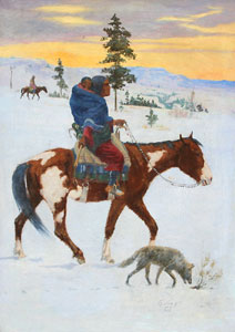 "William Gollings, Indian on Horseback, Oil on Canvas, 34"" x 24"""