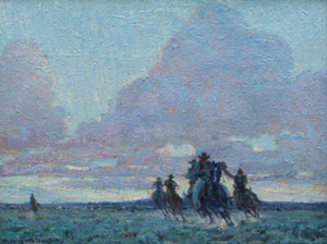 "William Herbert Dunton, The End of the Day, Circa 1915, Oil on Canvas Board, 12"" x 16"""