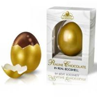 Golden Egg Gifts for Easter, Praline Chocolate Inside A Real Shell!