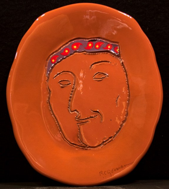 RC Gorman, Self Portrait, Ceramic plate one of a kind, 13 inch diameter