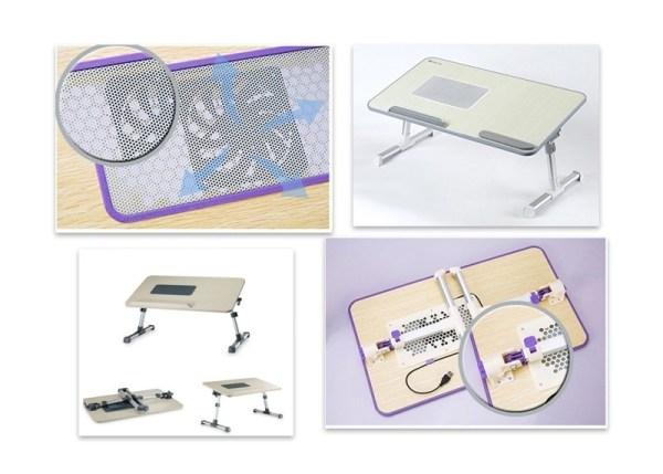 Εργονομικό τραπεζάκι Laptop με μεταλλικό σκελετό και ανεμιστήρα - E-DESK