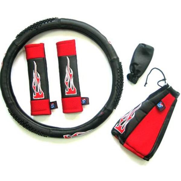 Κάλυμμα τιμονιού αυτοκινήτου δερματίνη σετ Flame κόκκινο medium 38cm