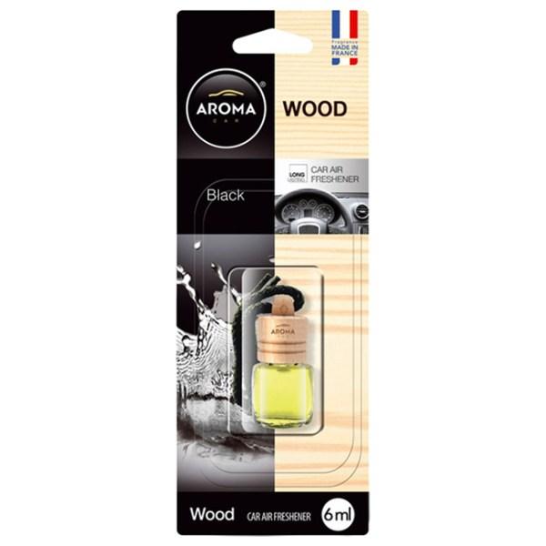 Αρωματικό αυτοκινήτου κρεμαστό μπουκαλάκιμε ξύλινο καπάκι aroma 6ml με άρωμα black