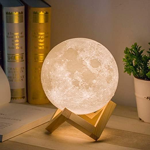 Ανάγλυφο φωτιστικό 15cm αφής 3D φεγγάρι - Moon Light LED No.1915