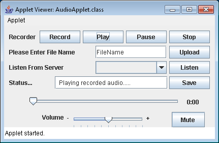 Audio Capture and Playback Applet