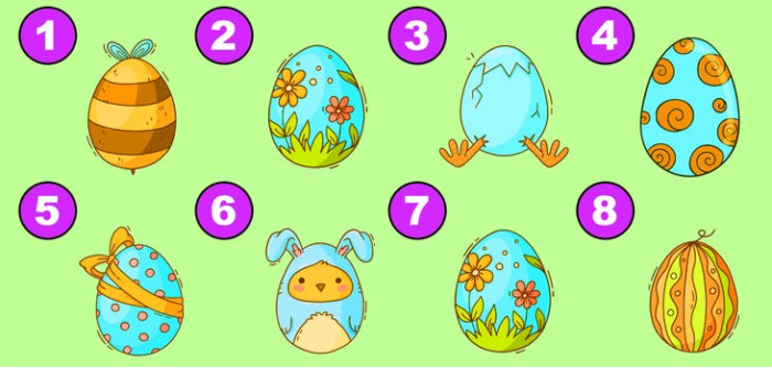 Which two Easter eggs are the same?