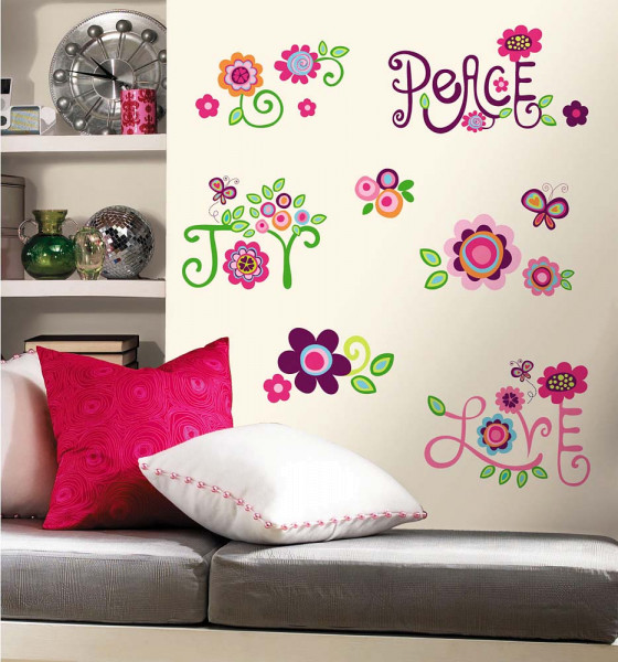 Wandtattoo Leuchtend Wandsticker Blumen Love Peace Joy | Tapetenwelt