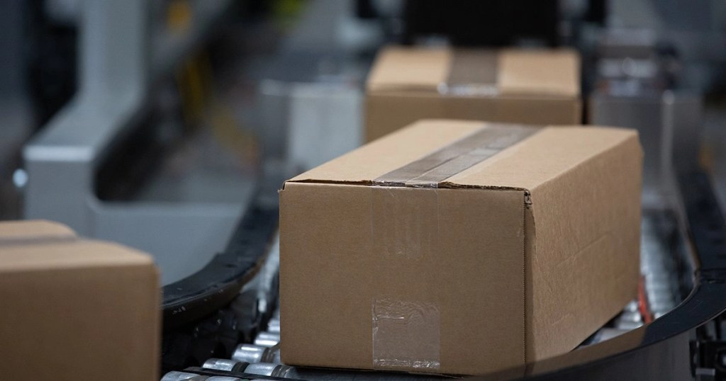 boxes on packaging line