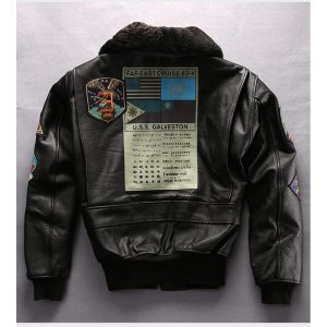 Fur Collar Genuine Leather Pilot Jacket