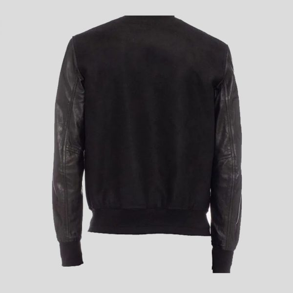 Soft Lambskin and Cotton Doeskin Embroidered Varsity Jacket.