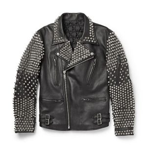 Black Color handsome look Studded Punk Men Leather Jacket