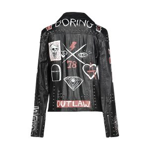 Black Permuim Quality Printed Leather Jacket