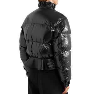 Cropped Quilted Shell Down Leather Jacket