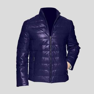 Dark Blue Men's Leather Packable Down Filled Puffer Jacket