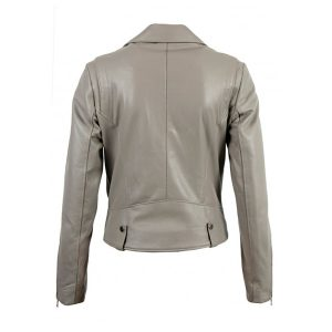 Grey Biker Style Women Leather Jacket