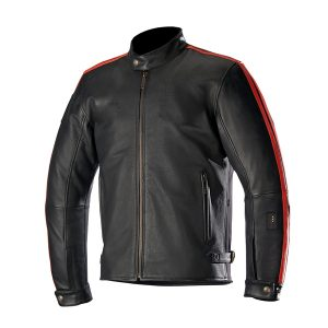 Leather Motorcycle Jacket with red stripes
