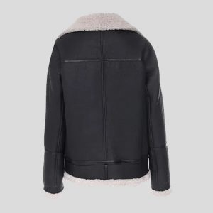 Oversized Biker Shearling Leather Jacket