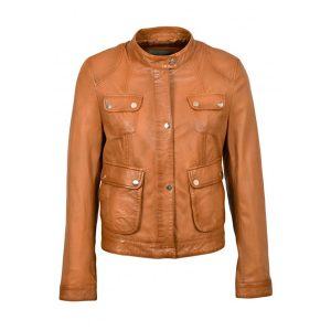 Pooley Tan Style Women Leather Jacket