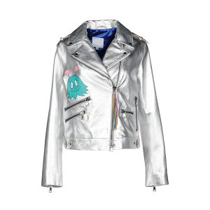 Silver Printed Leather Biker jacket
