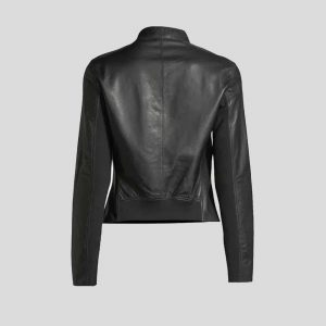 Zip-Front Lamb Leather Metallic Bomber Jackets