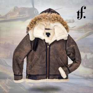 B-3 Hooded Sheepskin Leather Bomber Jacket