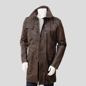 Mens Brown Leather Trench Coats