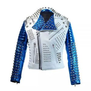 Motorbike Style Studded Punk Men Leather Jacket With Blue Sleeves