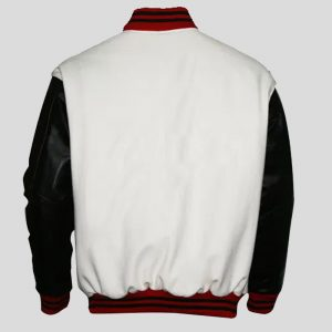 Top Quality Wool Melton White and Genuine Leather Sleeves Varsity Jacket