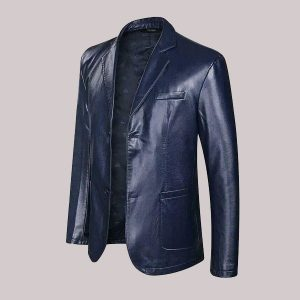 new Men's Stylish Leather Blazers Jacket Outwear Formal Lapel Business Work Coat