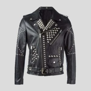 Star Studded Handmade Black Leather Jacket for Men Designer Fashion Leather Jacket